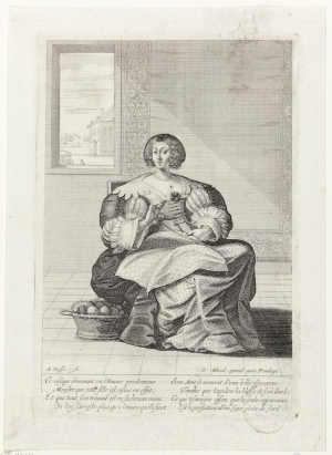 Print by the French artist, Abraham Bosse, showing a woman doing needlework, France, 17th century.