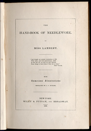 Ttile page of Miss Lambert's Handbook of Needlework, American edition 1842.