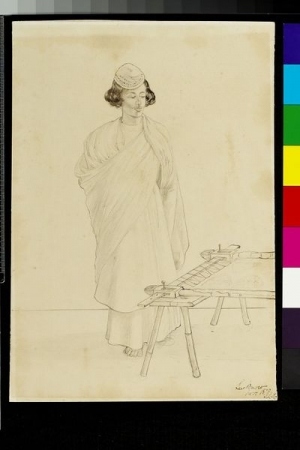 Man in Lucknow, standing next to an embroidery frame, c. 1970. Drawing by John Lockwood Kipling.