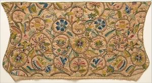 Embroidered linen coif, Britain, early 17th century.