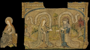 Fragments of an altar frontal showing the Life of the Virgin, worked in 'or nué' work, Flemish or English, c. 1500.