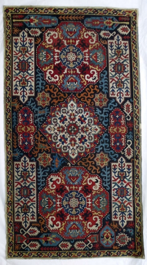 Cotton cover with silk embroidery, perhaps for a cushion. Azerbaijan, late-17th century.