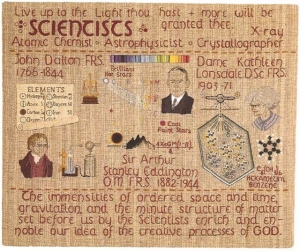 Panel D10 of the Quaker tapestry, showing three famous Quaker scientists.