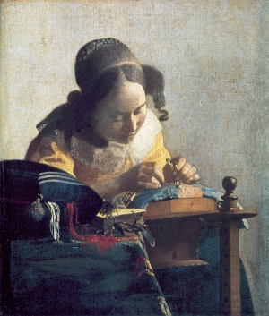 The Lacemaker, by Johannes Vermeer (1632-1675), painted c. 1670.