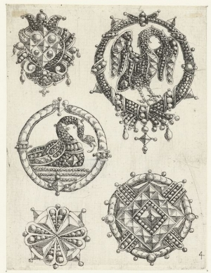 Print with embroidery motifs, attributed to Daniel Meijer, dated between 1618-1623.