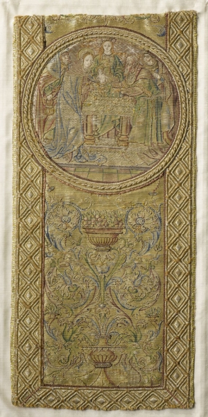 Fragment of an orphrey in 'or nué' work, The Netherlands, showing the Presentation of Jesus at the Temple, c. AD 1550.