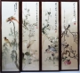 Chinese screen with Suzhou embroidery. on four screens, representing the four seasons.