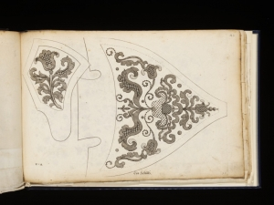 Two embroidery designs for a shoe, by Margaretha Helm, 1659-1742.