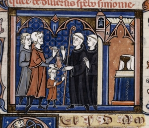 Detail of a medieval French illustration of a boy being received into a monastery. The child's guardian/father (in brown) is wearing a coif