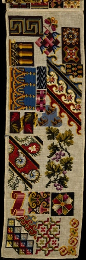 Berlin wool work sampler, mid-19th century, England.