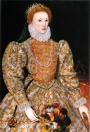 Queen Elizabeth I with her piccadill. This is the so-called Darnley portrait dated c. 1575, by an unknown artist.