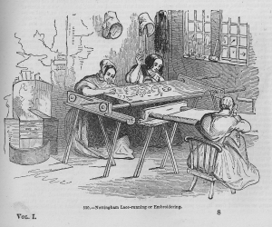 Lace running by hand. Lace dressing at Nottingham. Charles Knight's Pictorial Gallery of Arts, Vol. I, c.1862.