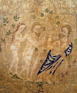 Detail from the Daroca cope, also known as the Madrid cope. showing Adam and Eve. Opus anglicanum. Early 14th century.