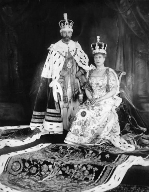 King George V of Britain wearing the Robe of Estate during the coronation ceremonies in June 1911.