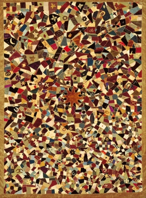 Example of American crazy patchwork, made by Rebecca King (1859-1915), late 19th century.