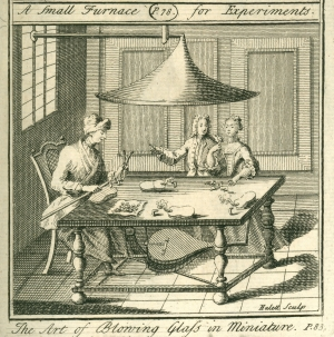 The Art of Blowing Glass in Miniature. Print from G. Smith's  'The Laboratory or School  of Arts', published in 1756.
