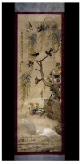Silk embroidered scroll painting, China, c. 1860-1880.