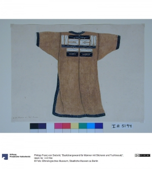 Drawing of a bast fibre tunic with embroidery, collected by Philipp Franz von Siebold (1796-1866).