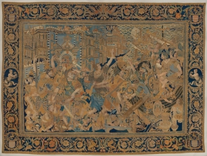 'The Abduction of Helen', embroidered and painted hanging made in China on the basis of an European pattern.