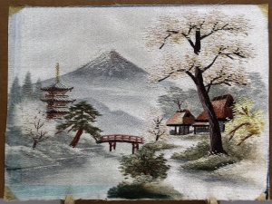 Japanese hand embroidered painting, showing Mount Fuji.
