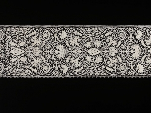 Needle lace border with a picot edging, Venice, mid-17th century.
