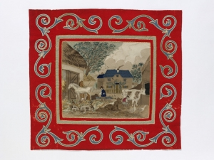 Inlay patchwork picture showing nostalgic, rustic scene, Britain, mid-19th century.