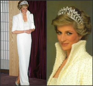 Lady Diana with pearl encrusted dress. Auctioned at Christie's in 1997.