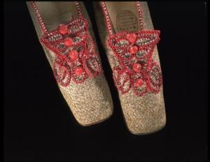 Pair of embroidered, linen women's shoes from England, dated c. 1840's- 1850's.