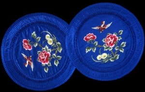 Two silk embroidered cushion covers, made for the export market. China, c. 1970.