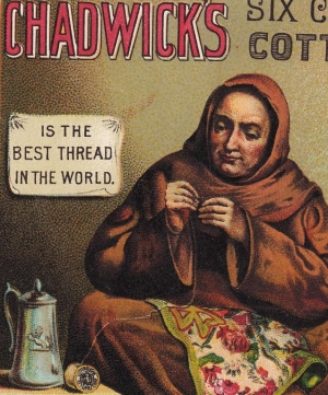 Advertising card for Chadwick's six-cord cotton, showing St. Clare embroidering, late 19th century.