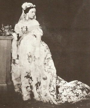 Photograph of Queen Victoria wearing her wedding dress., February 1840.