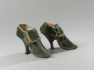 Pair of high-heeled embroidered shoes from The Netherlands, c. 1700.