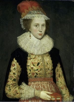 Margaret Layton, c. 1620, wearing a jacket with Jacobean work, portrayed by Marcus Gheeraerts the Younger ((1561–1636).