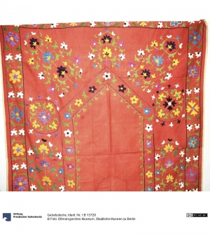 Embroidered prayer cloth from Afghanistan.