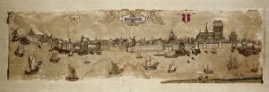 Embroidered view of Dordrecht, dated 1606.