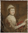 Mary Knowles in an embroidered self-portrait while working her needlepainting of King George III.