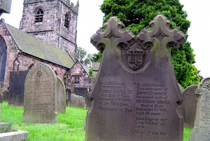 Gravestone of Elizabeth and Thomas Wardle, Cheddleton churchyard.