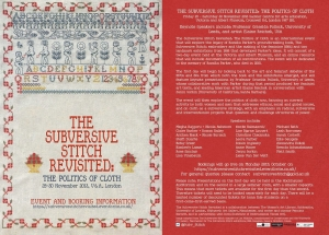 The Subversive Stitch Revisited. The Politics of Cloth. Announcement for a 2013 event in the Victoria and Albert. Museum,  exploring the legacy of Rozsika Parker's book The Subversive Stitch.