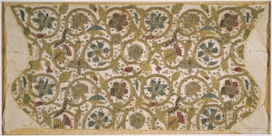 An embroidered coif that was never made up, English, late sixteenth century.
