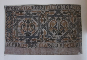 Embroidered bed valance from Iceland, 17th century. Embroidered with glitsaumur technique.