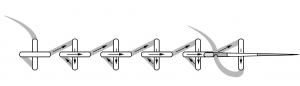 Schematic drawing of the horizontal cross stitch.