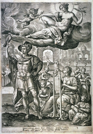 Etching by Maerten de Vos (c. 1534-1603), from series The Seven Ages  of Man.
