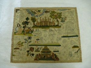 Embroidered picture showing scenes from the Biblical story of Abraham and Hagar. England, c. AD 1660.