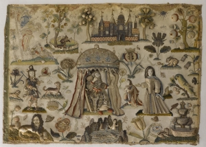 Embroidered panel, Britain, 17th century.