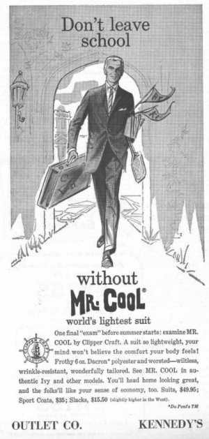 1961 advertisement for a dacron suit.