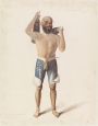 Water colour of a wrestler from Kabul, c. 1836.
