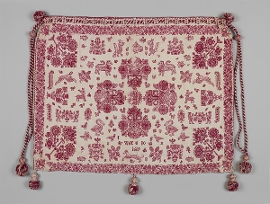 British work bag decorated with red work, second half 17th century.