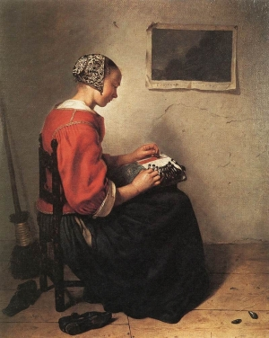 The Lacemaker, by Caspar (Gaspar) Netscher (1639-1684), dated 1662.