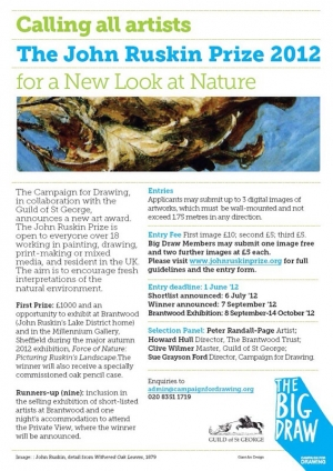 Announcement for the 2012 John Ruskin Prize.