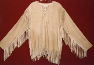 Replica of a North American, colonial buckskin shirt.